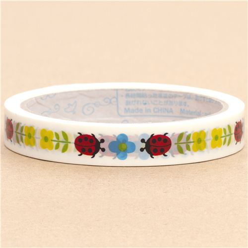 white Deco Tape ladybird flowers from Japan
