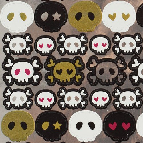 cute shiny skull stickers with hearts
