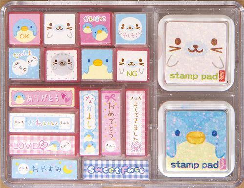 big seals penguins stamp set by San-X