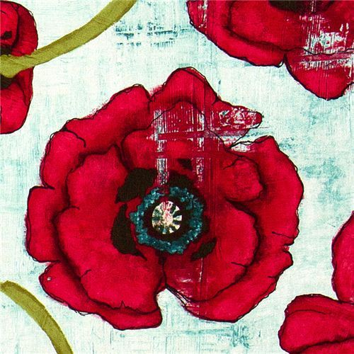 Michael Miller fabric with big red corn poppy flower