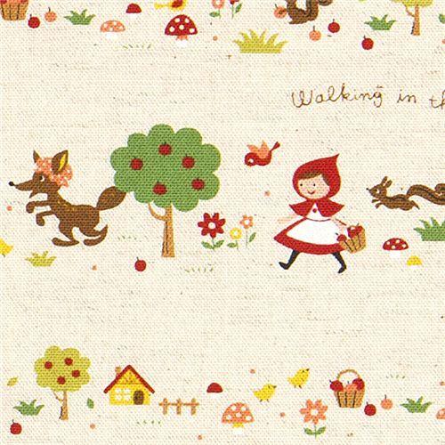 Little Red Riding Hood Canvas Fairy Tale Fabric Kokka