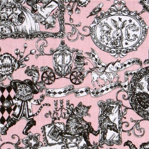 old rose Puss in Boots fairy tale fabric by Kokka Japan