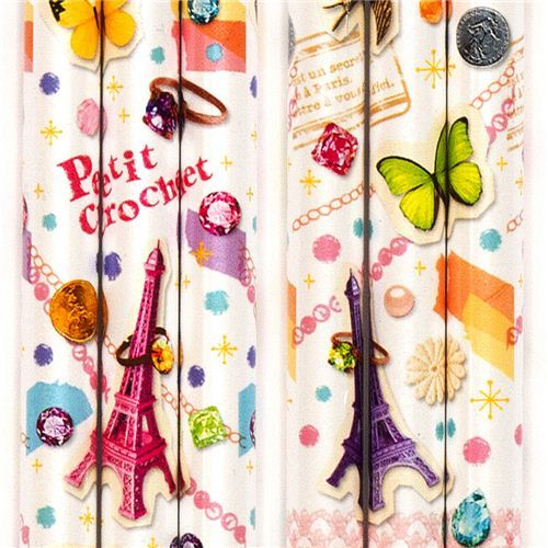 kawaii pencil with jewelry Eiffel Tower butterfly