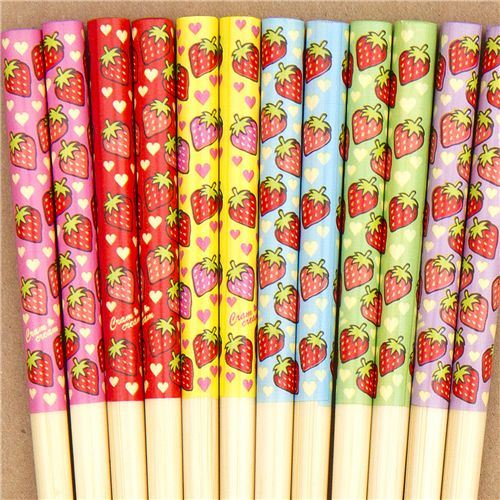 colourful Strawberry Chopsticks set 6 pairs hearts