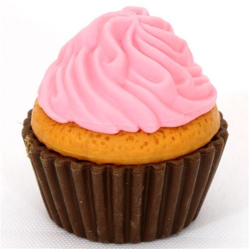 pink cupcake eraser from Japan by Iwako