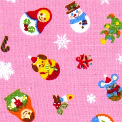 pink Christmas fabric Matryoshka kawaii animals