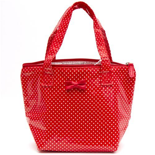 red thermo lunch bag white polka dots with ribbon