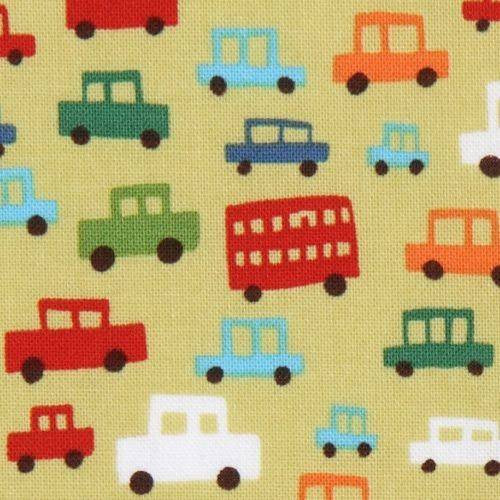 green Michael Miller fabric small cars for boys