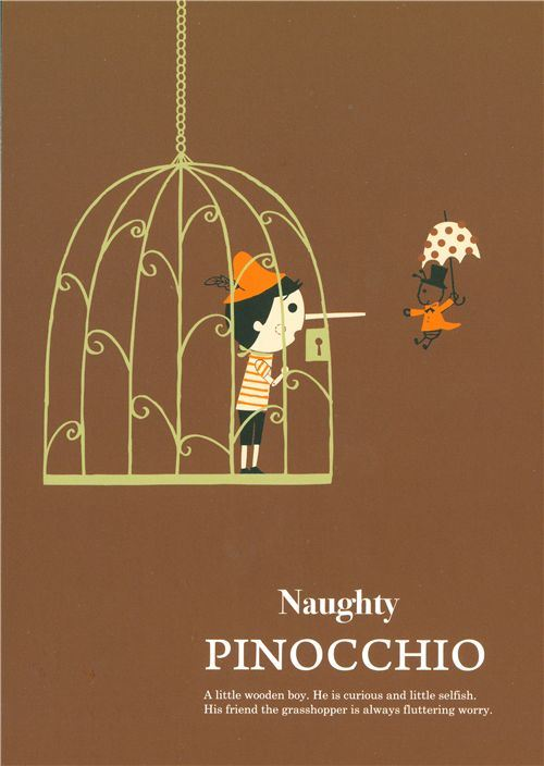 cute Shinzi Katoh postcard Pinocchio in a cage