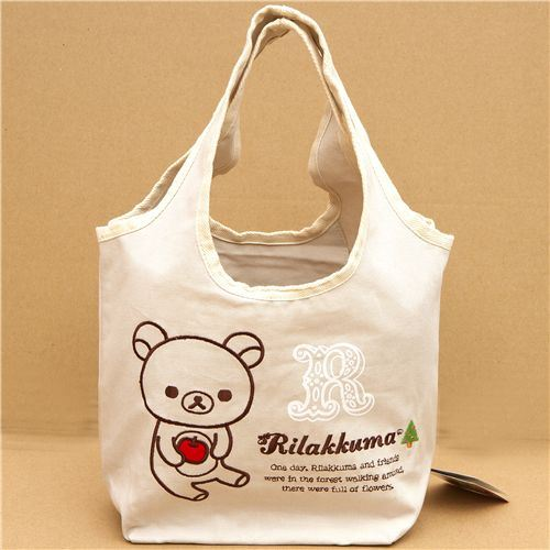 cute Rilakkuma bear shopping bag with apple