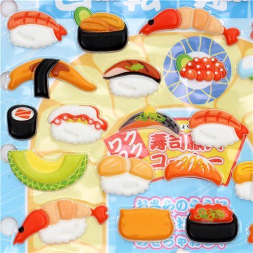 funny3D sponge sticker set with sushi kawaii