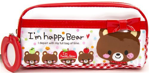 white red pencil case with bears & mirror from Japan