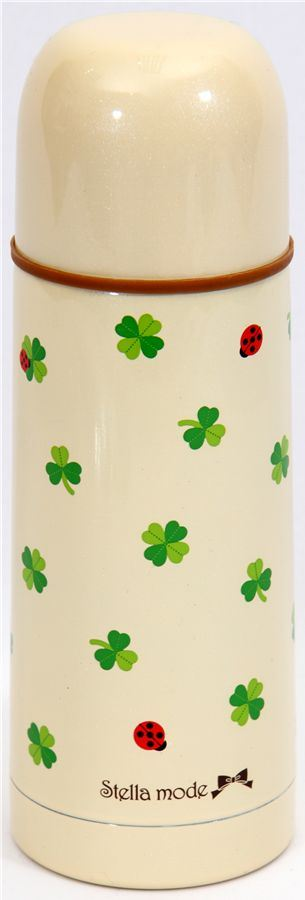 cute Thermo bottle with clover leaves ladybird Japan