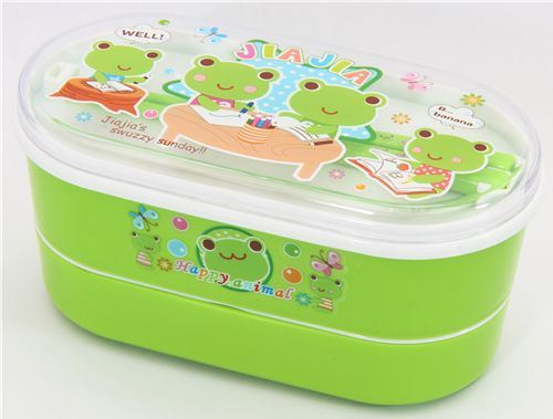 Green Bento Box Frog Family kawaii lunch box