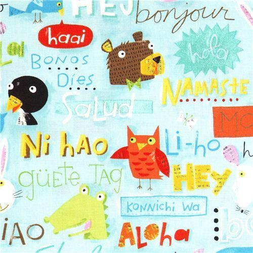 Hello animals canvas designer fabric by Nancy Wolff