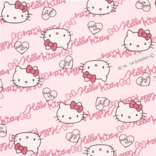 light pink Hello Kitty face text laminate fabric Sanrio Japan