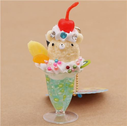 light green bear face ice cream cherry biscuit parfait figure from Japan