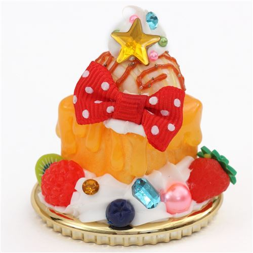 raspberry red bow orange sauce cream honey toast dessert figure from Japan