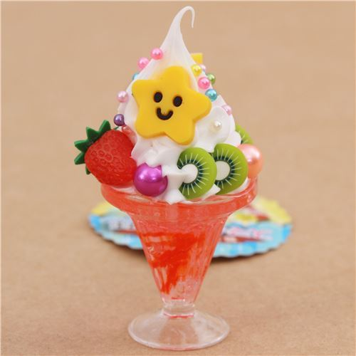 red white ice cream strawberry biscuit parfait figure from Japan