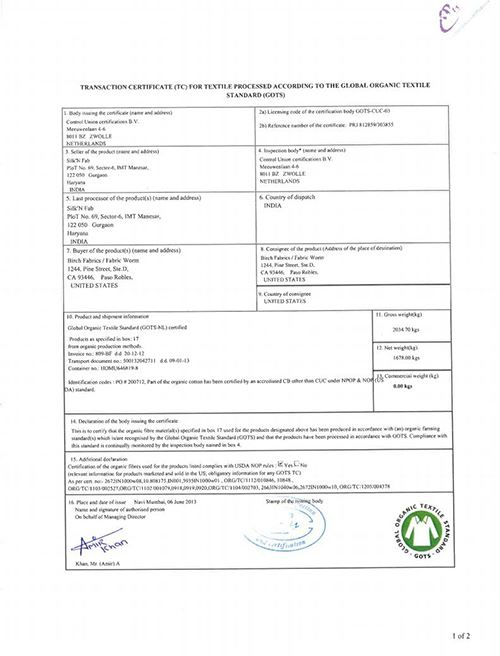 Page 1 of the Birch Organic Fabric Certification