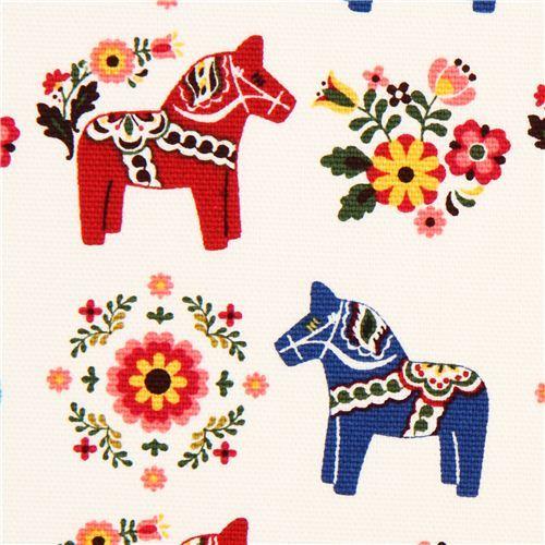 white Swedish Dala horses animal fabric by Cosmo from Japan