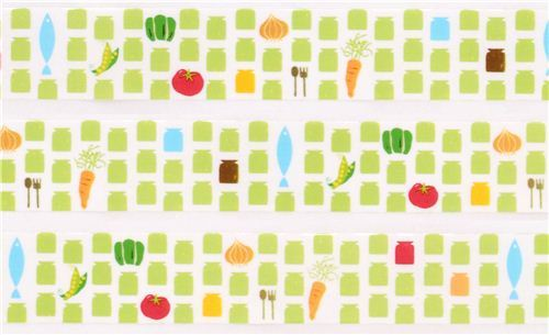 white kitchen food vegetable deco tape sticky tape from Japan by Prime Nakamura