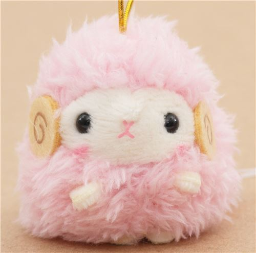 small pink sheep with gold color strap Chinese Zodiac Puchimaru plush charm