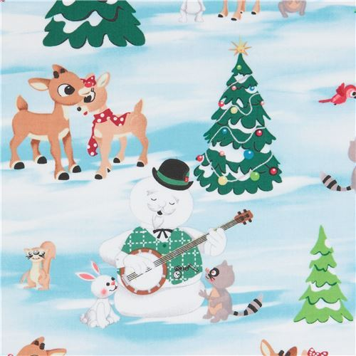 fabric with animal reindeer Christmas tree Quilting Treasures