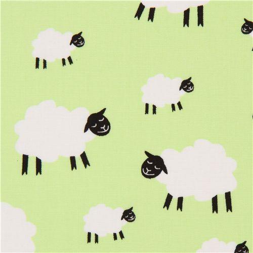 light green sheep fabric by Dear Stella USA