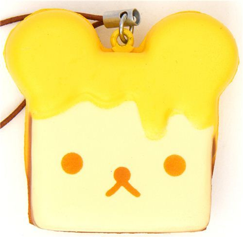 Rilakkuma meets honey toast squishy cellphone charm