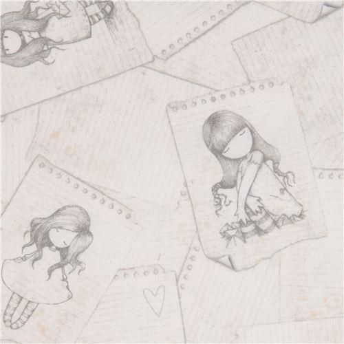 light beige fabric cute children note paper Gorjuss Quilting Treasures