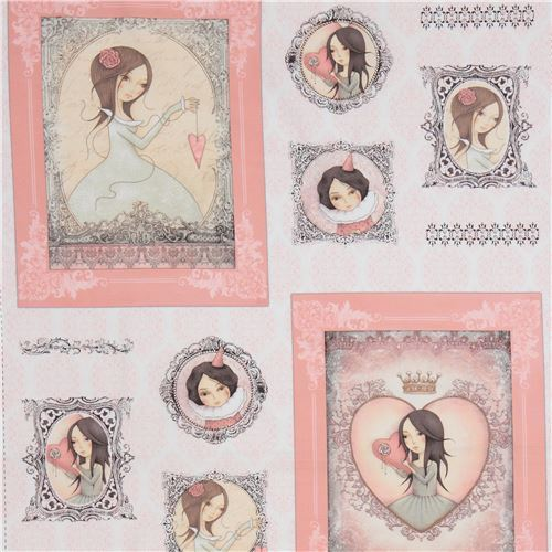 white light pink fabric children picture frame panel Gorjuss Quilting Treasures
