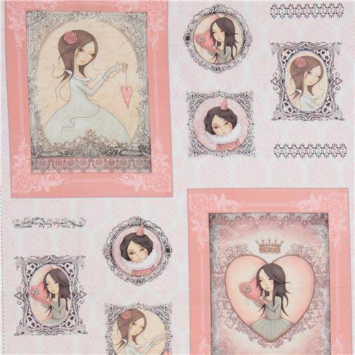 white light pink fabric children picture frame panel Gorjuss Quilting Treasures
