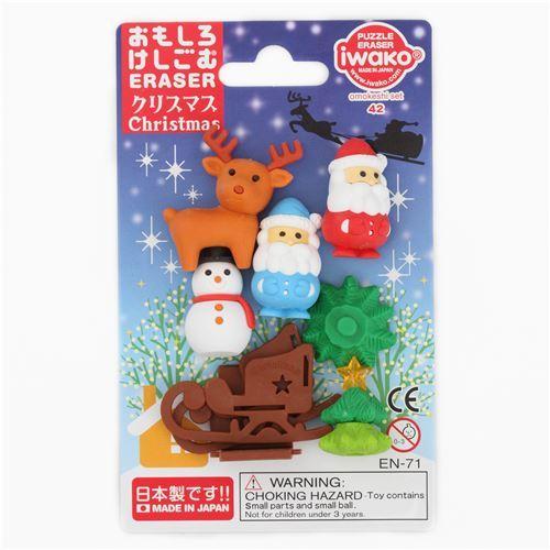 Iwako erasers Santa snowman reindeer Christmas 6 pieces set