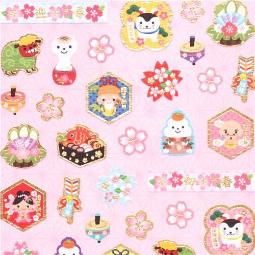 Japanese paper stickers cherry blossom food Happy New Year