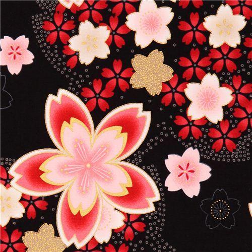 black cherry blossom Asia fabric Robert Kaufman Satsuki