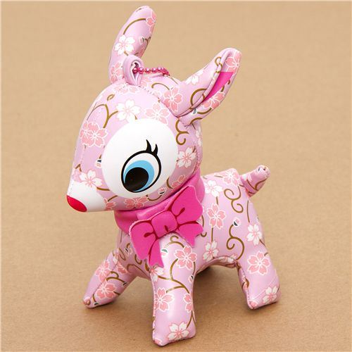 cute big pink deer charm cherry blossom