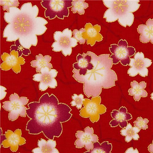 red cherry blossom flower poplin fabric by Kokka