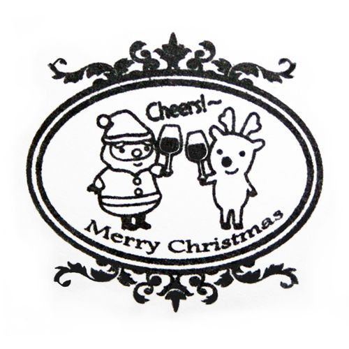 kawaii Xmas stamp Santa Claus reindeer Cheers