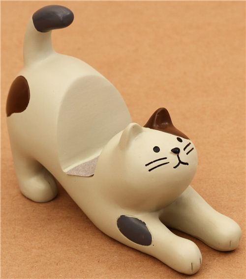 cream-brown cat ceramic cellphone holder Decole