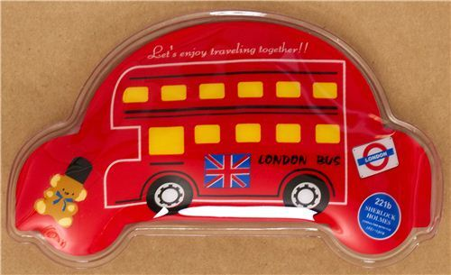 kawaii red London double decker bus pocket warmer hot pad