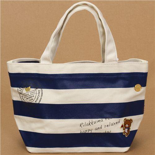 maritime Rilakkuma canvas linen handbag blue stripes
