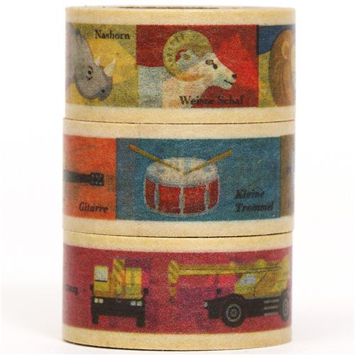 mt Washi Masking Tape deco tape set 3pcs animals cars music