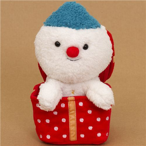 cute Christmas snowman plush toy in Christmas present