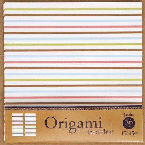 origami stripes paper set with 4 colours from Japan