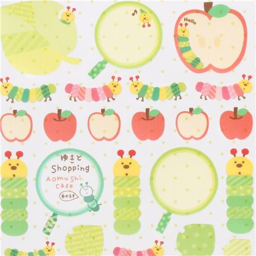 kawaii caterpillar and apple stickers from Japan with labels