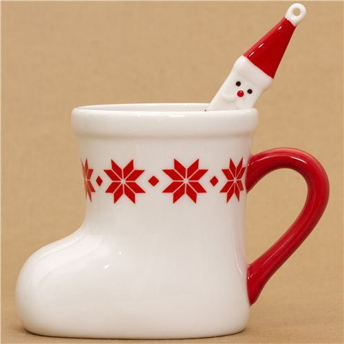 white Christmas boot cup with Santa Claus spoon