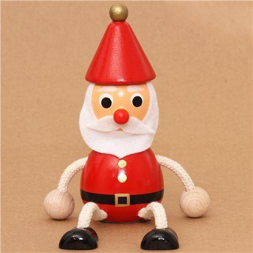 kawaii Santa Claus wooden figure doll from Japan Christmas