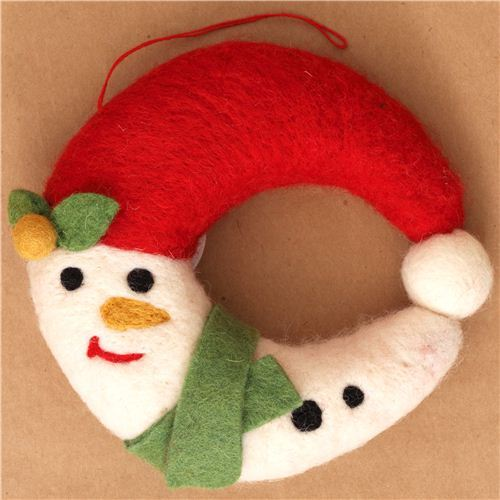 kawaii Snowman felt wreath door decoration Christmas