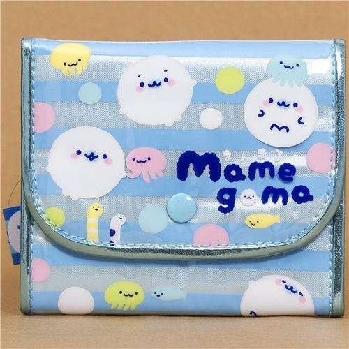 blue-silver Mamegoma seals wallet from Japan